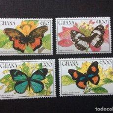 Sellos: GHANA Nº YVERT 1094/7*** AÑO 1990. MARIPOSAS. Lote 217497113