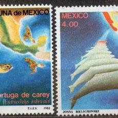 Sellos: MEXICO/1982/MNH/SC# 1281-82/ TORTUGAS DE CAREY & BALLENA GRIS / ANIMALES MARINOS. Lote 217561262