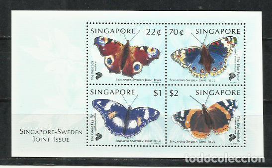 Q500C-HOJA BLOQUE SINGAPUR SINGAPORE SWEDEN 1999 MARIPOSAS INSECTOS MNH** VENDO SELLOS DE MUCHOS (Sellos - Temáticas - Fauna)