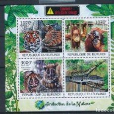 Sellos: BURUNDI 2012 MICHEL 2620/3 *** FAUNA SALVAJE - EL COMERCIO DE ANIMALES. Lote 219095045