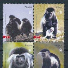 Sellos: ANGOLA 2004 IVERT 1591/4 *** FAUNA - PROTECCIÓN DE LA NATURALEZA - MONOS. Lote 219877981