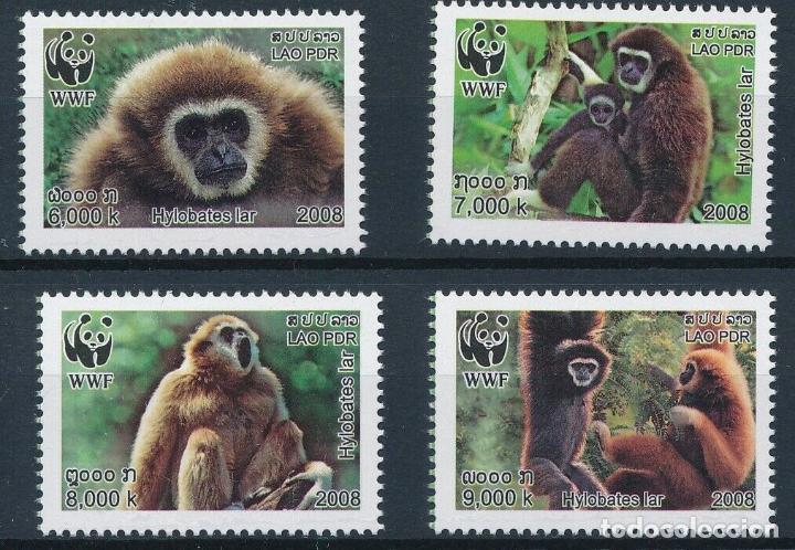 LAOS 2008 IVERT 1682/5 *** FAUNA - PROTECCIÓN DE LA NATURALEZA - SIMIOS - GIBBON (Sellos - Temáticas - Fauna)