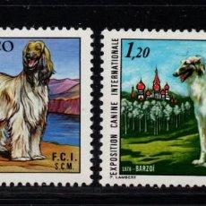 Sellos: MÓNACO 1163/64** - AÑO 1978 - FAUNA - PERROS - EXPOSICIÓN CANINA INTERNACIONAL. Lote 221580815