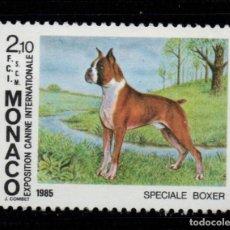Sellos: MONACO 1477** - AÑO 1985 - FAUNA - PERROS - EXPOSICIÓN CANINA INTERNACIONAL DE MONTECARLO. Lote 221582267