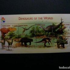 Sellos: /19.10/-SIERRA LEONE-2001-MINI PLIEGO SERIE COMPLETA(**MNH)-ANIMALES PREHISTORICOS. Lote 221588590
