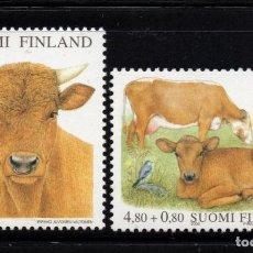 Sellos: FINLANDIA 1491/92** - AÑO 2000 - FAUNA - BOVINOS FINESES - CRUZ ROJA. Lote 221591715