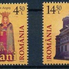 Sellos: RUMANIA 2012 IVERT 5632/3 *** 500º ANIVERSARIO MONASTERIO DE LA IGLESIA PRINCIPESCA CURTEA DE ARGES. Lote 221799200