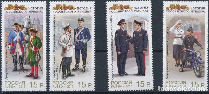 RUSIA 2013 MICHEL 1979/82 *** HISTORIA DE LOS UNIFORMES MILITARES EN RUSIA (Sellos - Temáticas - Fauna)