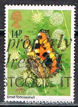 GRAN BRETAÑA IVERT Nº 992, MARIPOSA CAPARAZÓN DE TORTUGA, USADO (Sellos - Temáticas - Fauna)