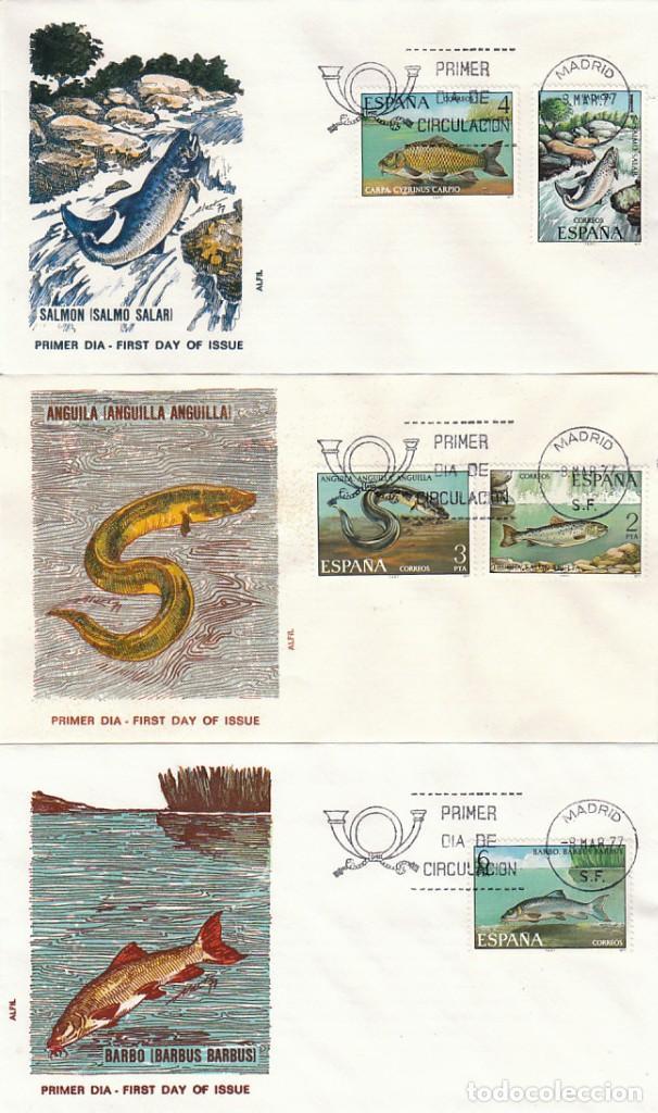 EDIFIL 2403/7, FAUNA HISPANICA, PECES, PRIMER DIA DE 8-3-1977 EN 3 SOBRES DE ALFIL (Sellos - Temáticas - Fauna)