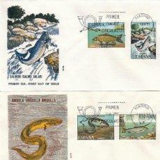 Sellos: EDIFIL 2403/7, FAUNA HISPANICA, PECES, PRIMER DIA DE 8-3-1977 EN 3 SOBRES DE ALFIL. Lote 222456198