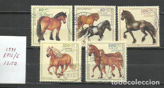 2656-SERIE COMPLETA ALEMANIA CABALLOS 1997 Nº 1756/6 12,00€ FAUNA ANIMALES DOMESTICOS.DEUTSCHE BUNDE (Sellos - Temáticas - Fauna)