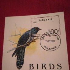 Sellos: HOJA DE BLOQUE TANZANIA BIRDS 1992 CON GOMA. Lote 226868930