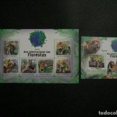 Selos: /12.12/-MOZAMBIQUE-2011-MINIPLEGO/SERIE COMPLETA/+BLOQUE EN NUEVO(**MNH)-ANIMALES SALVAJES. Lote 229635890