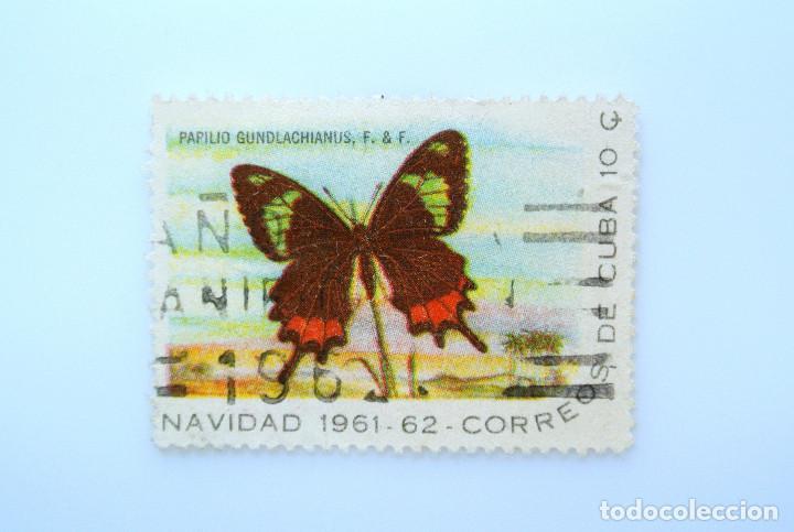 SELLO POSTAL CUBA 1961, 10 ¢, NAVIDAD 1961-62, MARIPOSA COLA DE GOLONDRINA, USADO (Sellos - Temáticas - Fauna)
