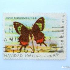 Sellos: SELLO POSTAL CUBA 1961, 10 ¢, NAVIDAD 1961-62, MARIPOSA COLA DE GOLONDRINA, USADO. Lote 230326510