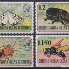 Francobolli: F-EX20792 BRITISH INDIAN OCEAN TERRITORY MNH 1976 SCARAB INSECT BEE BUTTERFLIES.. Lote 230706080