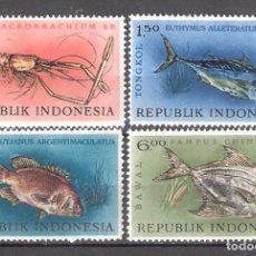 Timbres: INDONESIA Nº 330/333** FAUNA MARINA. PECES Y CRUSTÁCEOS. SERIE COMPLETA. Lote 232310165