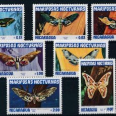 Sellos: NICARAGUA 1983 IVERT 1239/44 Y AEREO 1018 *** FAUNA - MARIPOSAS NOCTURNAS. Lote 232476655