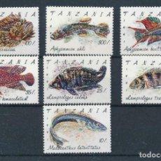 Sellos: TANZANIA 1992 IVERT 847/53 *** FAUNA MARINA - PECES. Lote 232476945