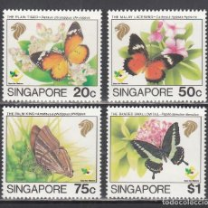 Sellos: SINGAPUR. 1993 YVERT Nº 676 / 679 /**/, MARIPOSAS. Lote 232512595