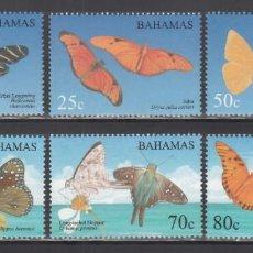 Sellos: BAHAMAS, 2008 YVERT Nº 1297 / 1302 /**/, MARIPOSAS. Lote 243818005