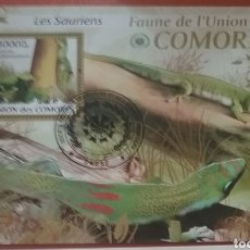 Sellos: HB U. COMORAS(COMORES) MTDOS/2009/FAUNA/VIDA/TERRESTRE/SALVAJE/GECKO/PHELSUMA/REPTIL/LAGARTO/LAGART. Lote 232722435