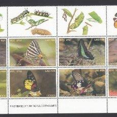 Sellos: LAOS. 2003 YVERT Nº 1485 / 1492 /**/, MARIPOSAS. Lote 232800987