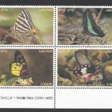 Sellos: LAOS. 2003 YVERT Nº 1485 / 1492 /**/, MARIPOSAS. Lote 232801310