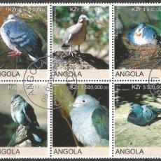 Francobolli: ANGOLA - PALOMAS UN BLOQUE DE 6 SELLOS DE 2000 - MIRE MIS OTROS LOTES U AHORRE GASTOS. Lote 234383985