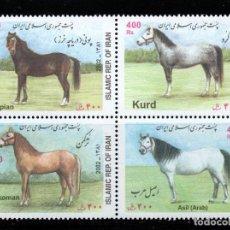 Sellos: IRAN 2626/29** - AÑO 2002 - FAUNA - CABALLOS. Lote 235784105