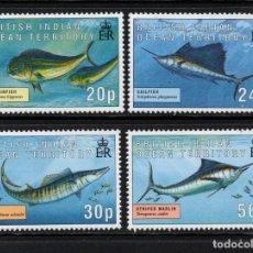 Sellos: OCEANO INDICO BRITANICO 169/72** - AÑO 1995 - FAUNA - PECES. Lote 236189945
