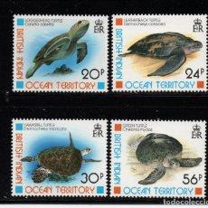 Sellos: OCEANO INDICO BRITANICO 181/84** - AÑO 1996 - FAUNA - TORTUGAS MARINAS. Lote 236190950