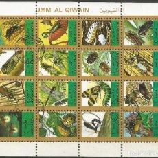 Sellos: UMM AL QIWAIN - BLOQUE DE 16 SELLOS DE INSECTOS 1973 - SELLADO. Lote 236376165