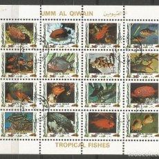 Sellos: UMM AL QIWAIN - BLOQUE DE 16 SELLOS DE PEZ TROPICAL 1973 - SELLADO. Lote 236378215