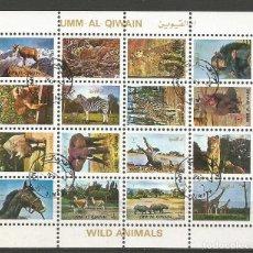 Sellos: UMM AL QIWAIN - BLOQUE 01 DE 16 SELLOS DE ANIMALES SALVAJES - 1973 - SELLADO. Lote 236399905