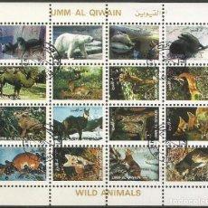 Sellos: UMM AL QIWAIN - BLOQUE 02 DE 16 SELLOS DE ANIMALES SALVAJES - 1973 - SELLADO. Lote 236400205