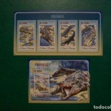 Selos: S.TOME&PRINCIPE-2014-HOJITA+BLOQUE EN NUEVO(**MNH)-REPTILES-COCODRILOS. Lote 236731255