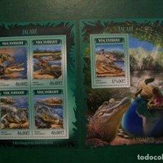 Selos: MOZAMBIQUE-2014-HOJITA+BLOQUE EN NUEVO(**MNH)-REPTILES-COCODRILOS. Lote 236731490