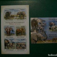 Selos: MOZAMBIQUE-2011-HOJITA+BLOQUE EN NUEVO(**MNH)-ANIMALES SALVAJES-ELEFANTES. Lote 236769455