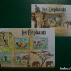 Sellos: REP.CENTROAFRICANA-2011-HOJITA+BLOQUE EN NUEVO(**MNH)-ANIMALES DE AFRICA-ELEFANTES. Lote 236936030