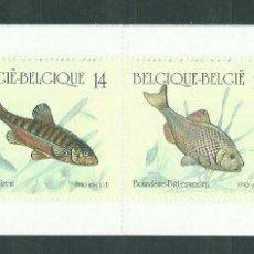 Sellos: BELGICA 1990 IVERT 2383/6 *** NATURALEZA - PECES DE AGUA DULCE - FAUNA. Lote 238476975