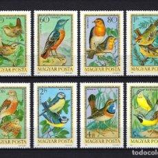 Sellos: 1973 HUNGRÍA YVERT CORREO AÉREO 360/367 FAUNA, PÁJAROS, AVES - MNH** NUEVOS SIN FIJASELLOS. Lote 245972895