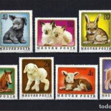 Sellos: 1974 HUNGRÍA YVERT 2404/2410 FAUNA CRÍAS ANIMALES DE GRANJA MNH** NUEVOS SIN FIJASELLOS. Lote 245976035