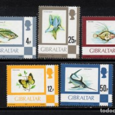 Sellos: GIBRALTAR 420/24** - AÑO 1981 - FAUNA - PECES - MARIPOSAS - FLORA - FLORES. Lote 245988390