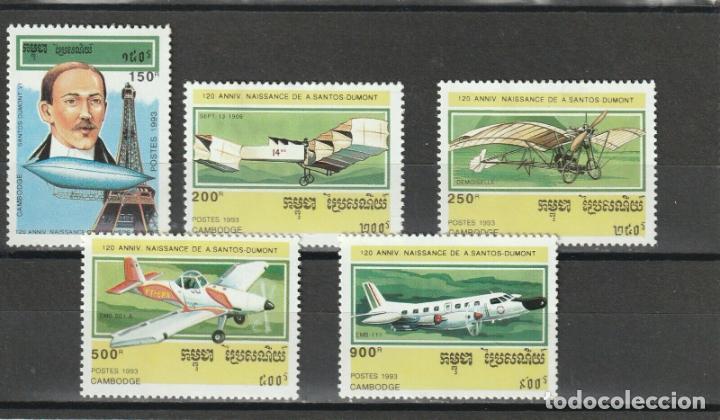 CAMBOYA - KAMPUCHEA 1993 IVERT 1130/4 *** AVIONES - 120º ANIVERSARIO NACIMIENTO DE SANTOS DUMONT (Sellos - Temáticas - Fauna)