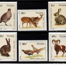 Sellos: POLONIA 2829/34** - AÑO 1986 - FAUNA - ANIMALES SALVAJES. Lote 268174834