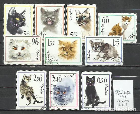 2811-POLONIA SERIE COMPLETA GATOS 1964 Nº1332/41 MUY BONITOS,USADOS,CALIDAD.FELINOS. (Sellos - Temáticas - Fauna)