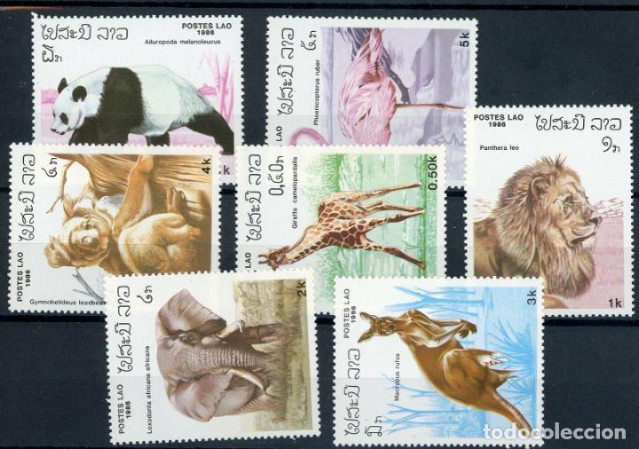 LAOS 1986 IVERT 685/91 *** FAUNA - ANIMALES DIVERSOS (Sellos - Temáticas - Fauna)