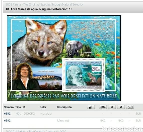 Sellos: HB R. Guinea mtdos/2009/evolucion/espacies/seleccion/naturaleza/zorro/Darrwin/fauna/peces/elefante - Foto 2 - 253543940